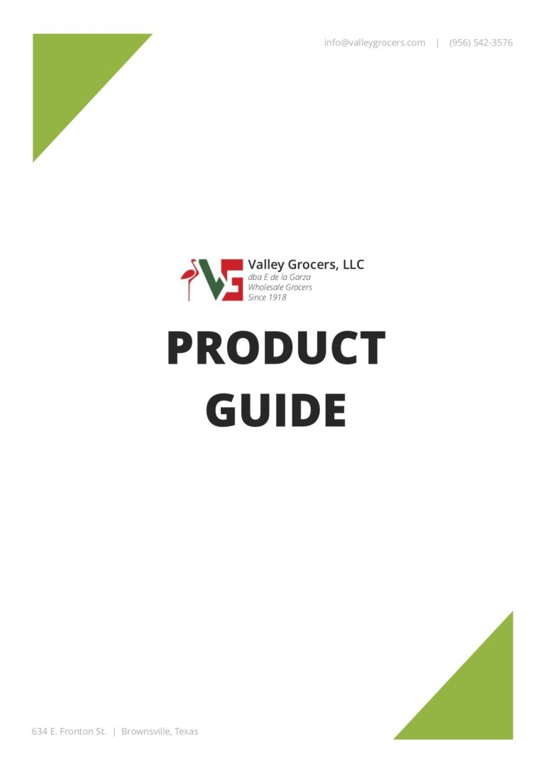 Valley Grocers Product Guide